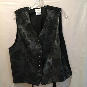 Via Sant Andrea Black Floral Vest, Ties at Back